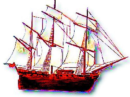 彩铅画船手绘